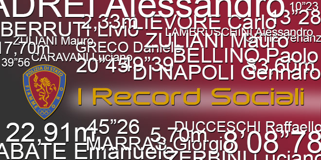 I Record Sociali delle Fiamme Oro Atletica