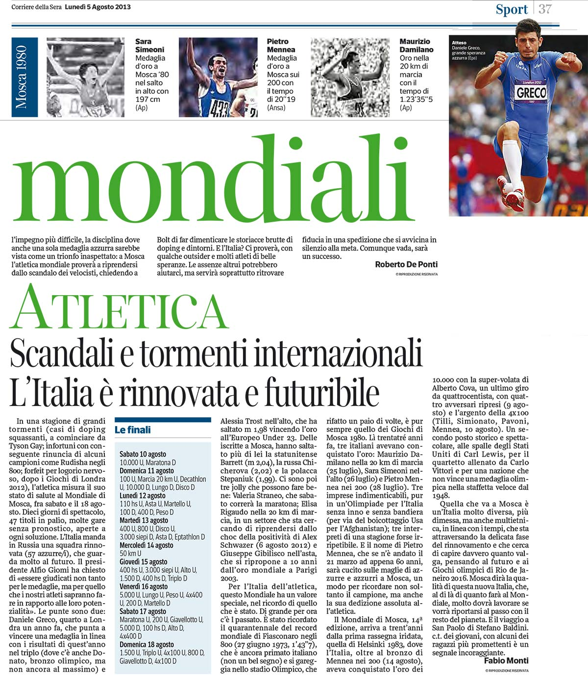 Campionati del Mondo Mosca 2013 - Daniele Greco - Corriere della Sera 05-08-13