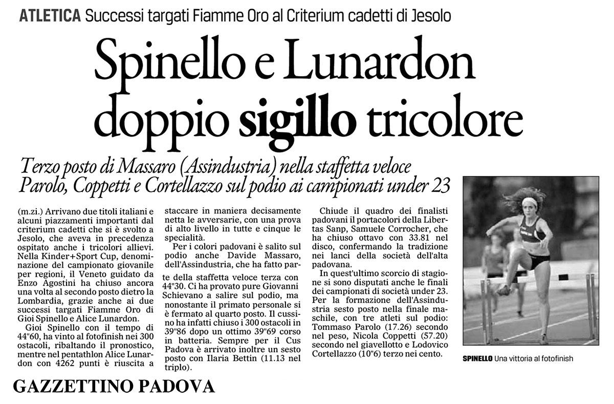 Campionati Italiani Cadetti 2013 - Spinello e Lunardon - Il-Gazzettino_16-10-2013