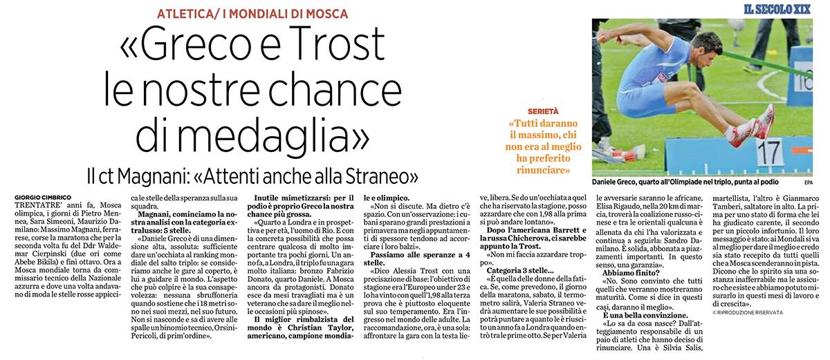 Campionati del Mondo di Mosca - Daniele Greco -Il Secolo XIX_09agosto2013
