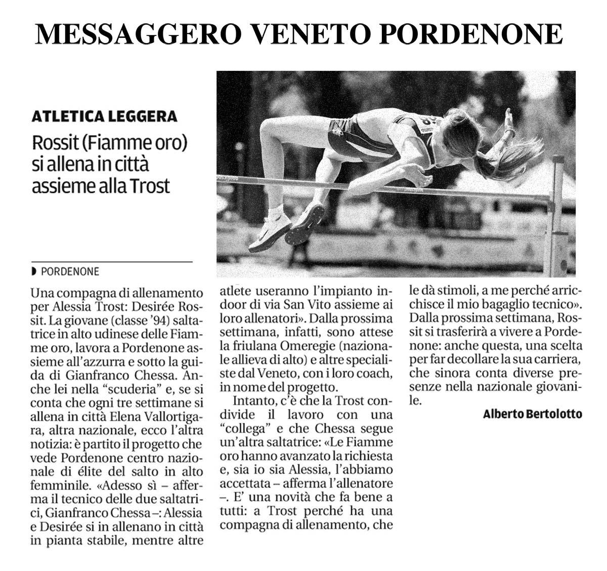 Rossit Desirèe - il Messaggero 21_11_13 Rossit Desirèe - il Messaggero 21_11_13 - Fiamme Oro Atletica