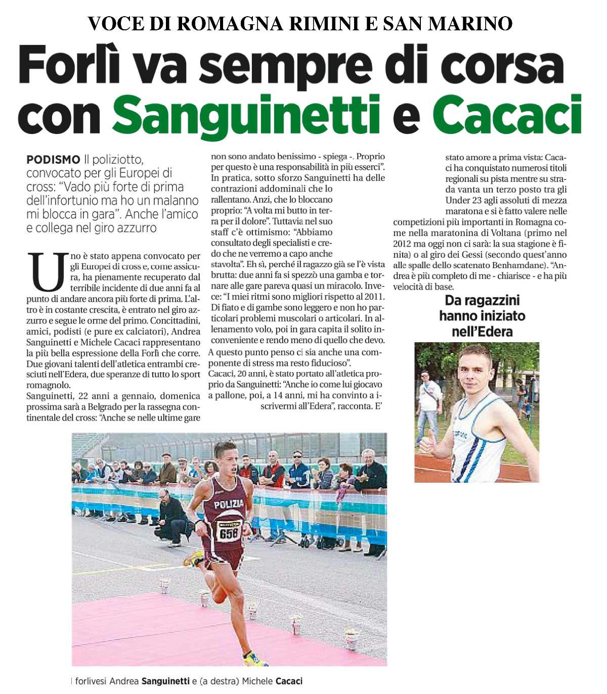 Andrea Sanguinetti - La Voce di Romagna 01 dicembre 2013 - Fiamme Oro Atletica