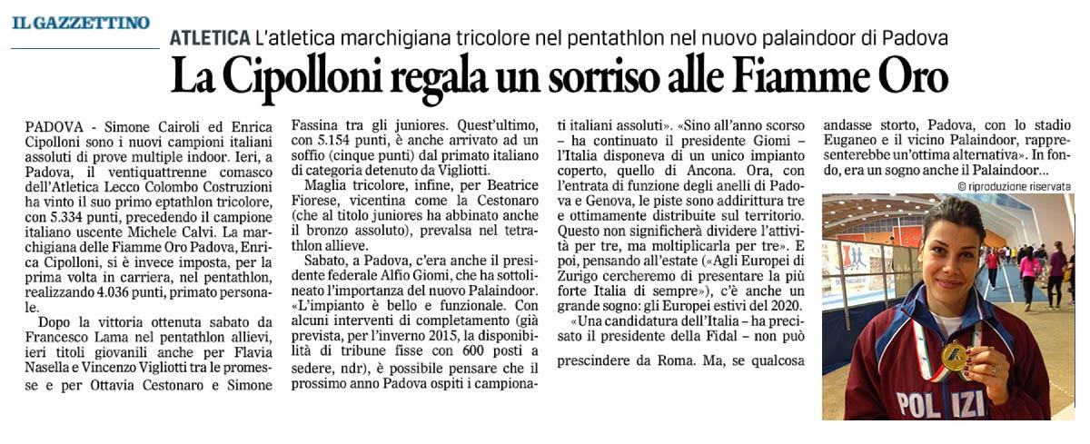 Enrica Cipolloni - Gazzettino_27-01-14 - Fiamme Oro Atletica