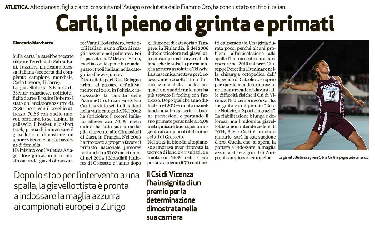 Silvia Carli Giornale di Vicenza 24_01_14 - Fiamme Oro Atletica