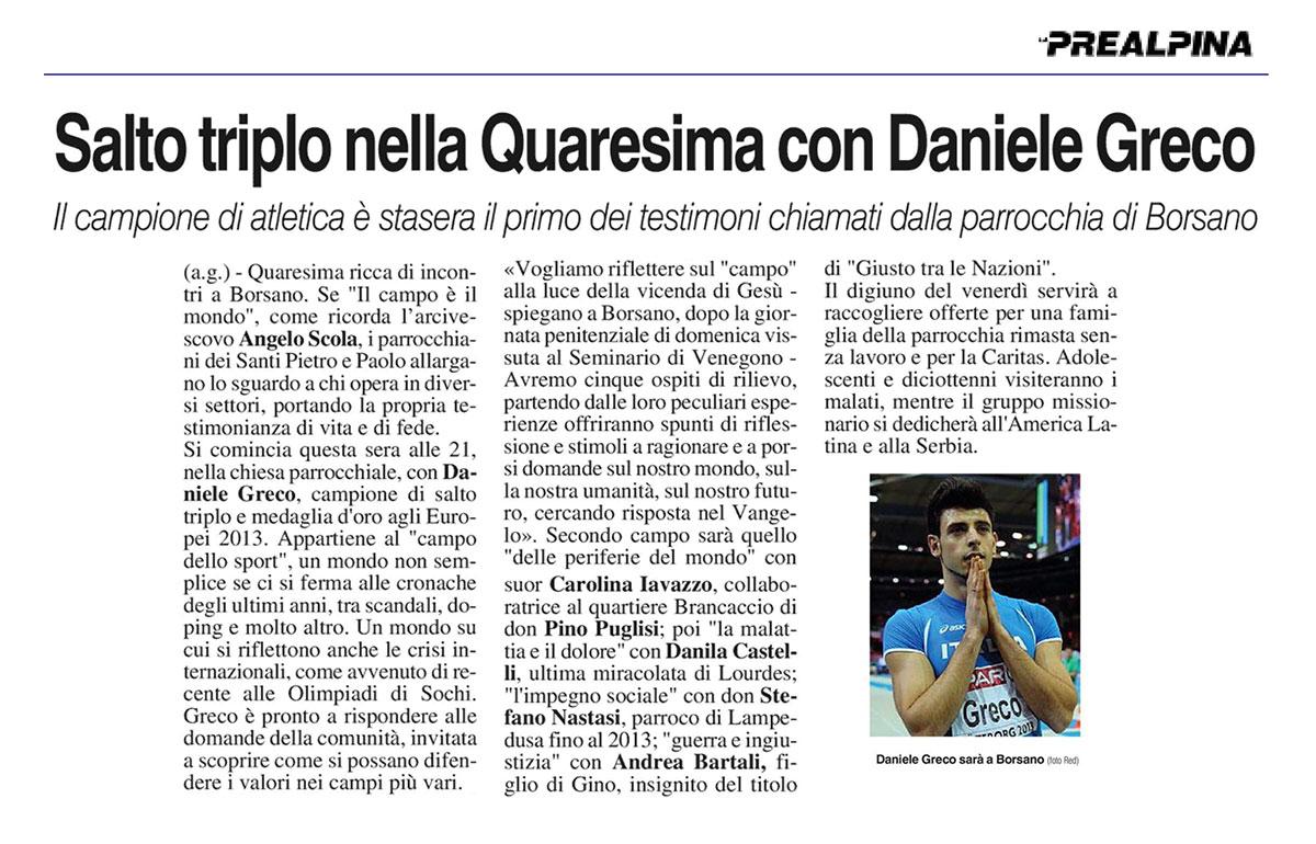 Daniele Greco - La Prealpina 14-03-14 Fiamme Oro Atletica