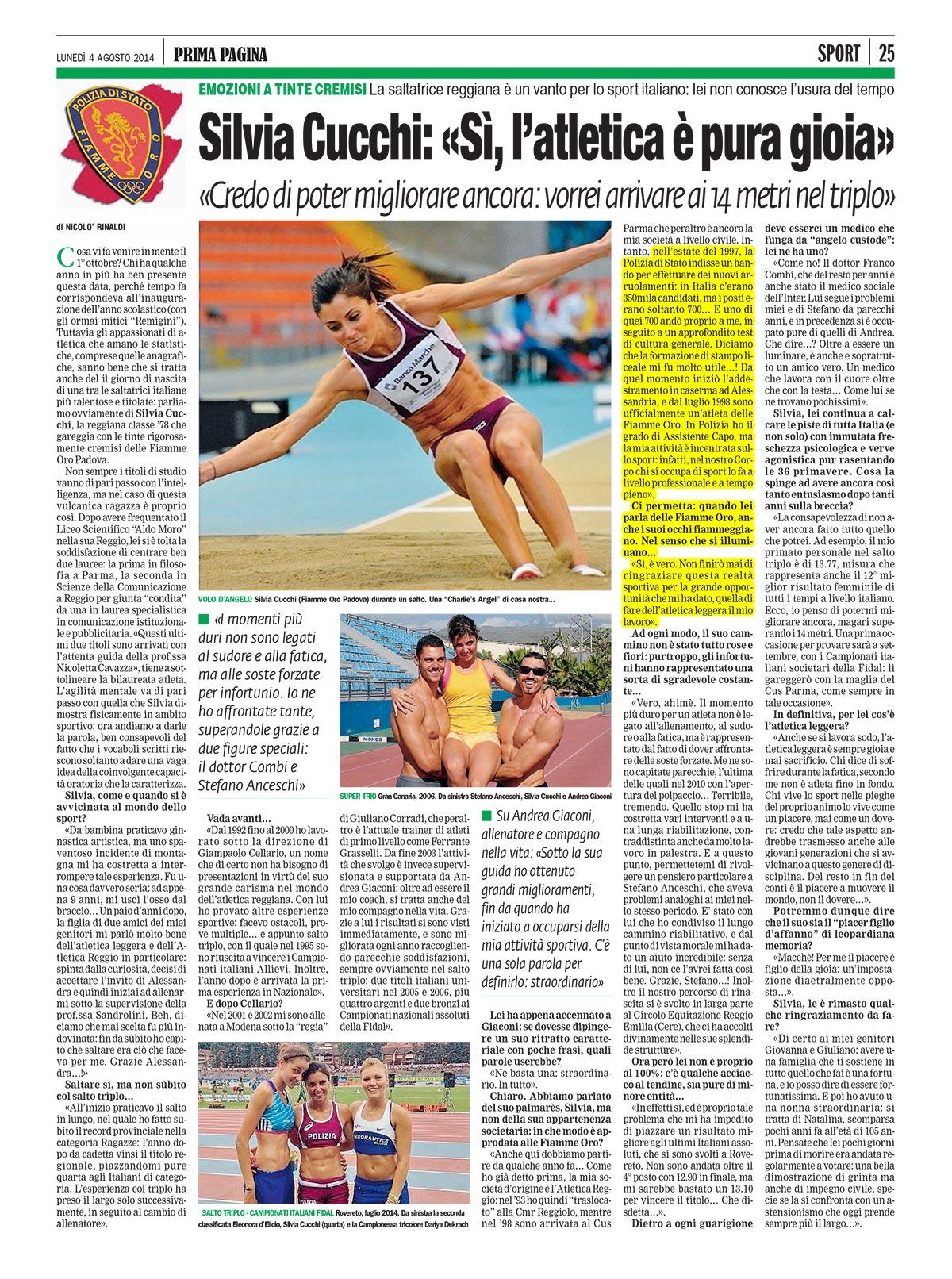 Prima Pagina Reggio Emilia - Fiamme Oro Atletica