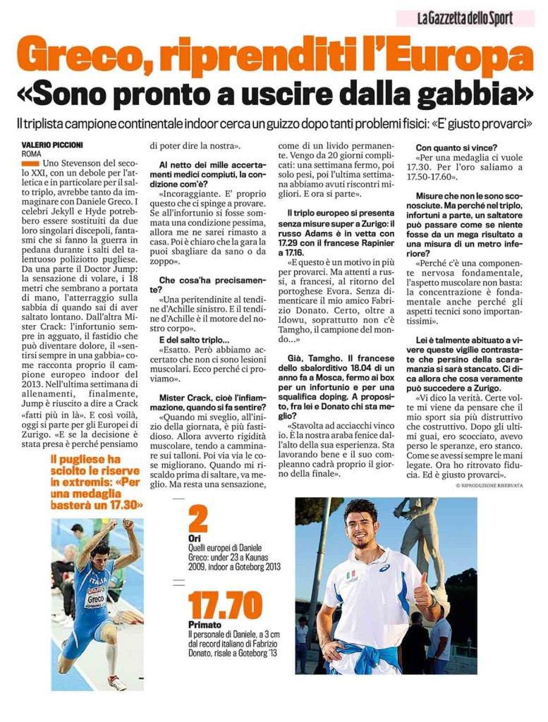 Gazzetta Sport 10 08 14