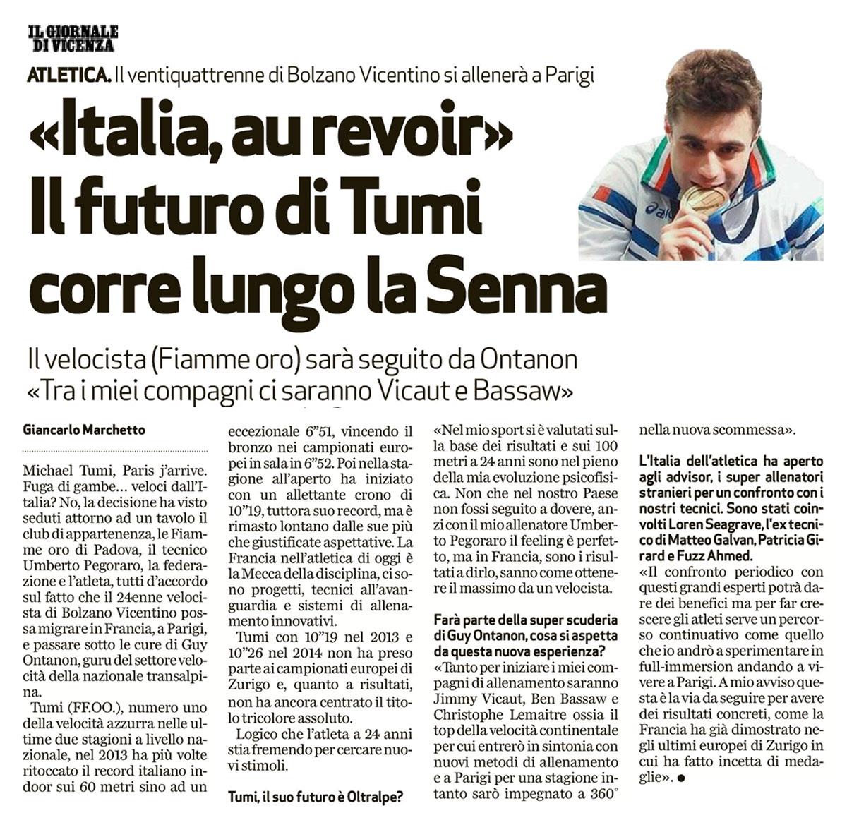 Giornale Vicenza 28 11 2014 - Fiamme Oro Atletica