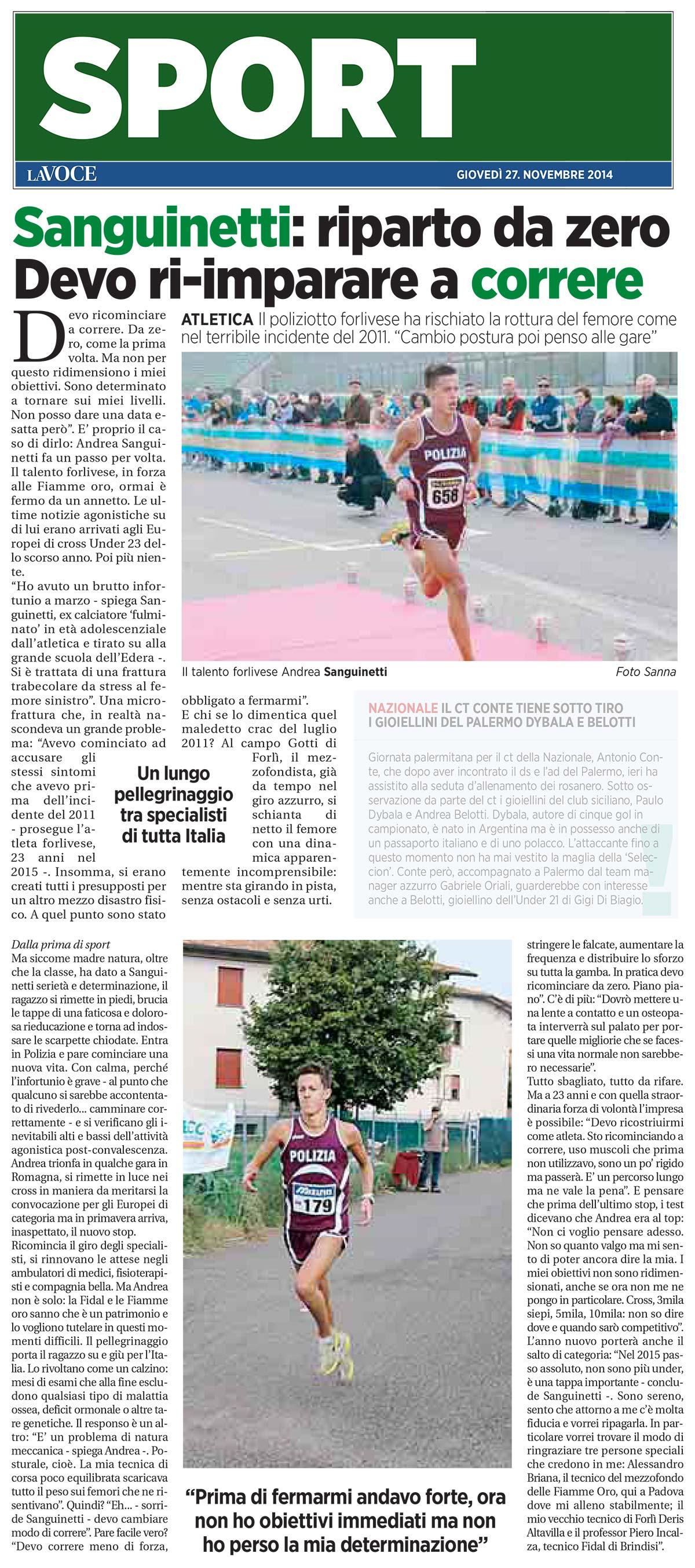 Sanguinetti La Voce 27 npvembre 2014 - Fiamme Oro Atletica