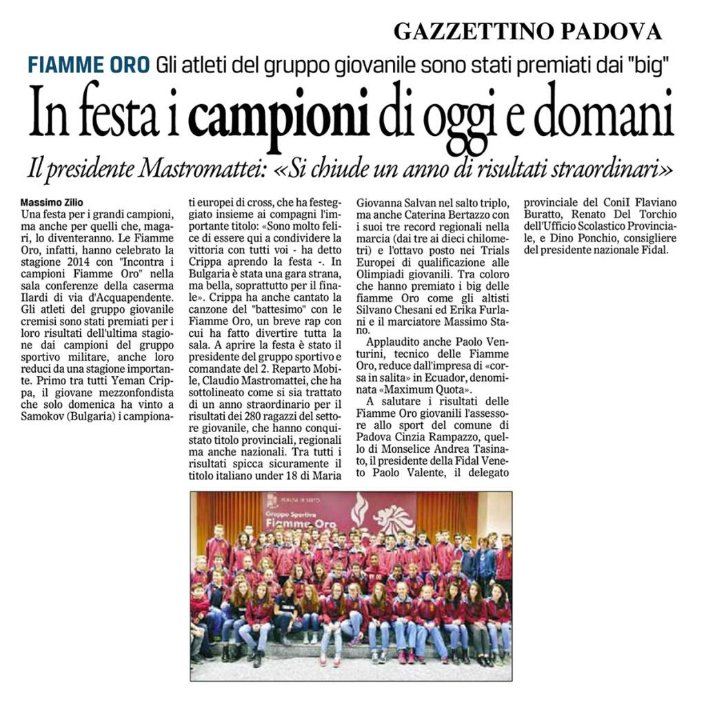 Gazzettino171214 - Fiamme Oro Atletica