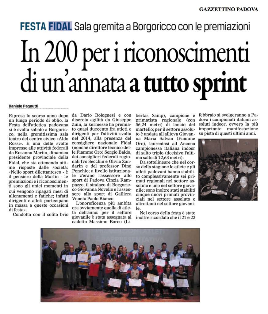 Gazzettino Padova 01 12 14 - Fiamme Oro Atletica