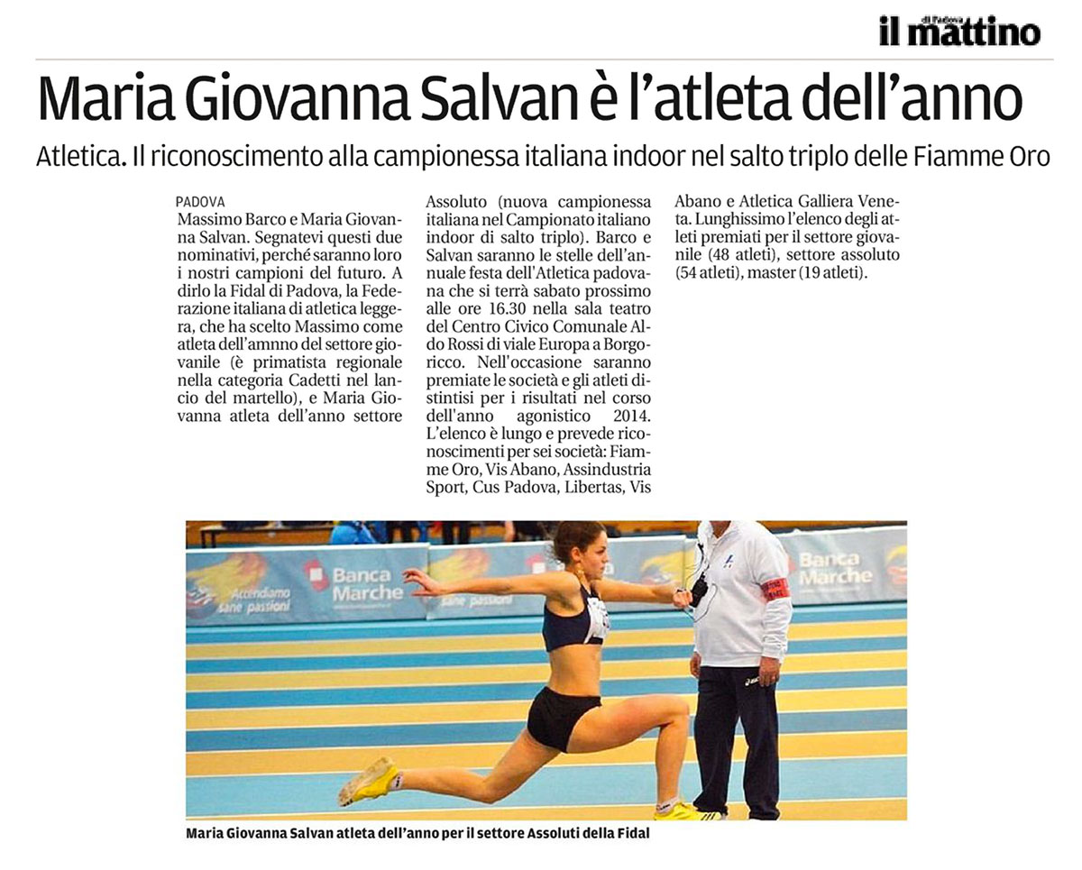 Il Mattino Padova 01 12 14 - Fiamme Oro Atletica