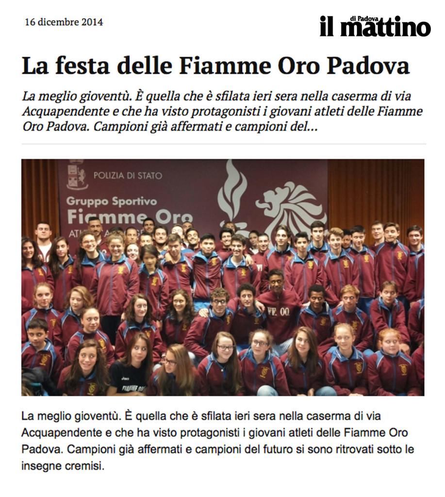 ilMattinoPadova161214 - Fiamme Oro Atletica