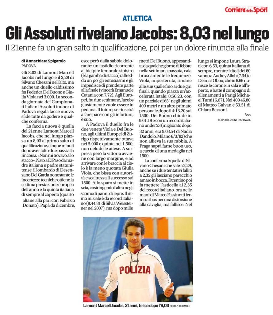 Corriere Dello Sport 23 02 15 - Fiamme Oro Atletica