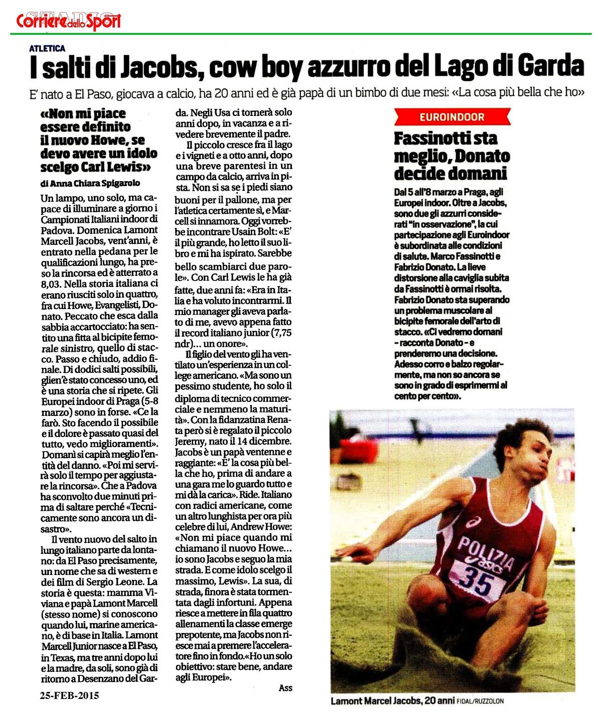 Corriere Sport 25 02 15 - Fiamme Oro Atletica