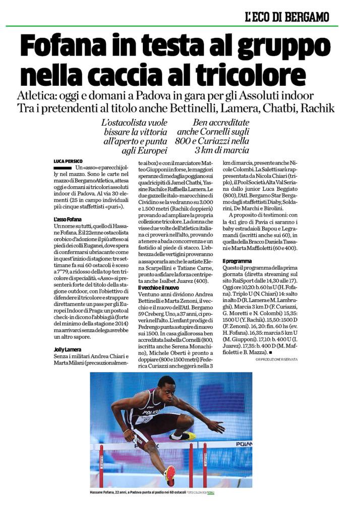 Eco Bergamo 22 02 15 - Fiamme Oro Atletica