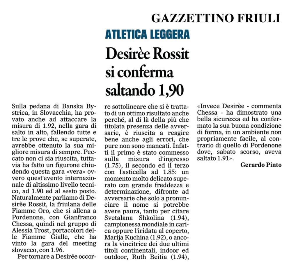 Gazzettino Friuli 07 02 15 - Fiamme Oro Atletica