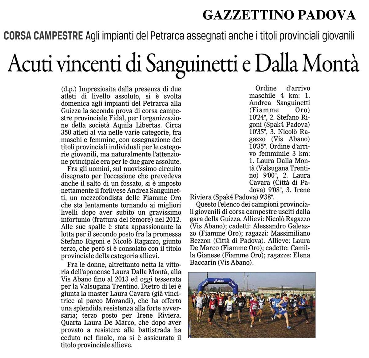 Gazzettino Padova 100215 - Fiamme Oro Atletica