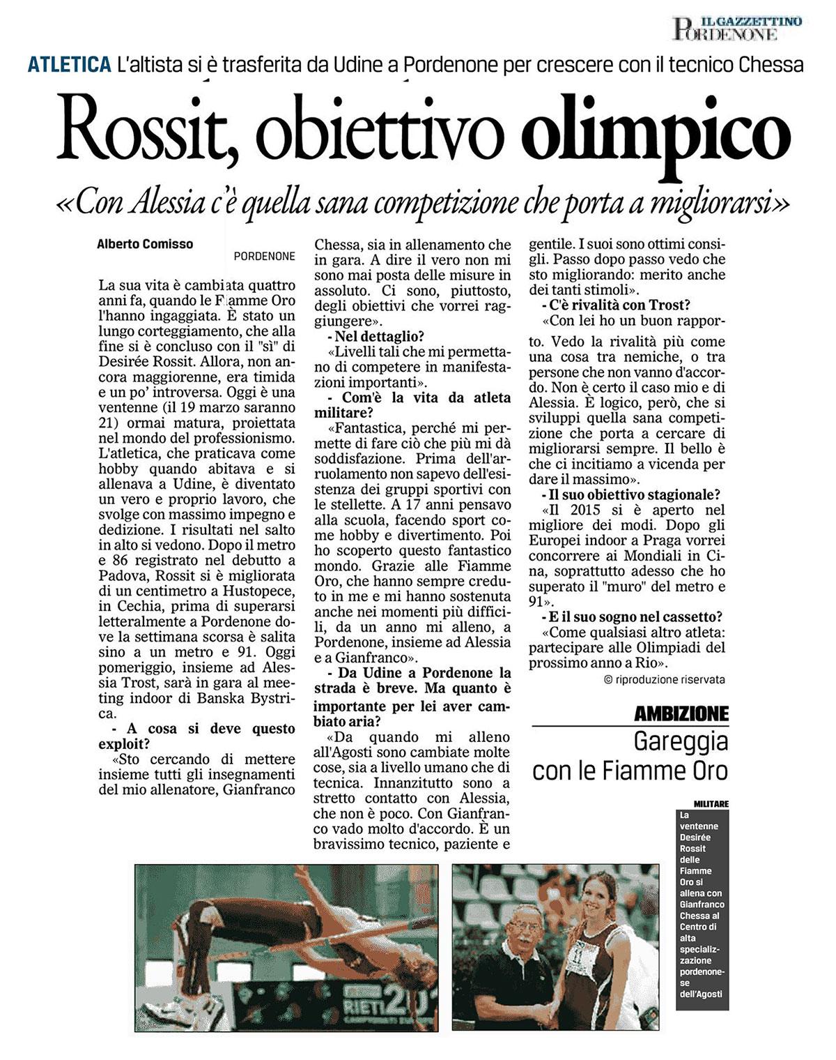 Gazzettino Pordenone 04 02 15 - Fiamme Oro Atletica