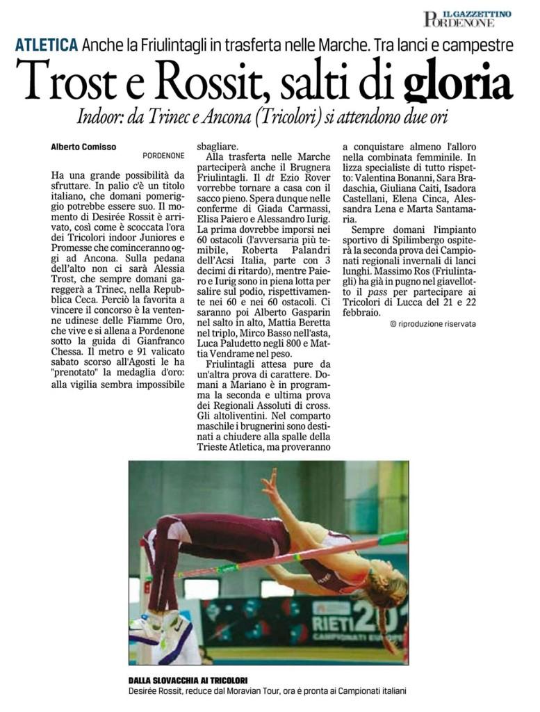Gazzettino Pordenone 07 02 15 - Fiamme Oro Atletica