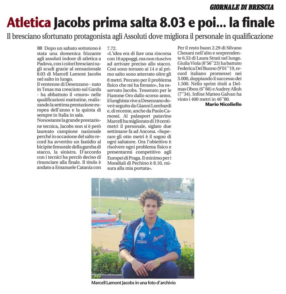 Giornale Brescia 23 02 15 - Fiamme Oro Atletica