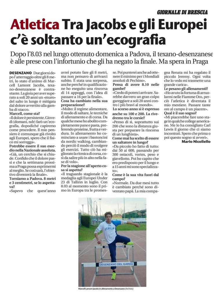 Giornale Brescia 25 02 15 - Fiamme Oro Atletica