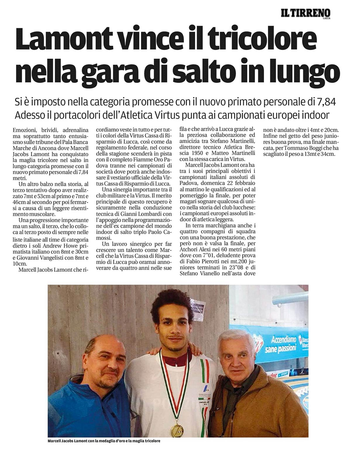 Il Tirreno 10 02 15 - Fiamme Oro Atletica