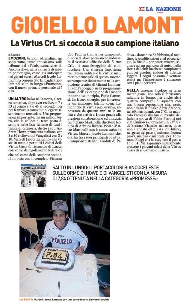 La Nazione Lucca 10 02 15 - Fiamme Oro Atletica