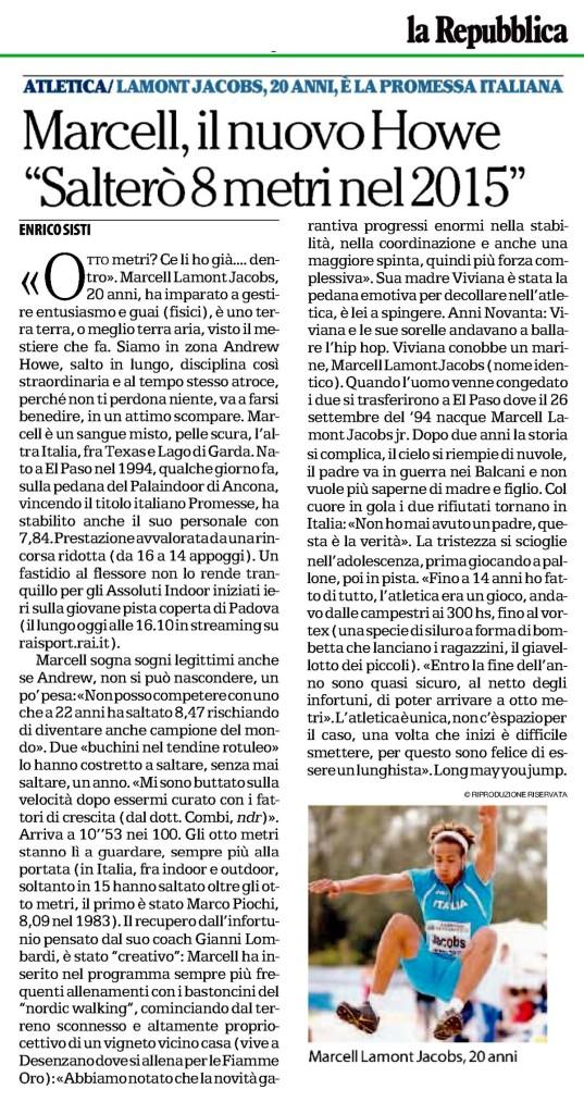 La Repubblica 22 02 15 - Fiamme Oro Atletica