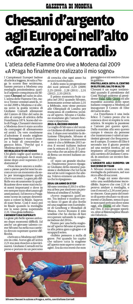 Gazzetta Modena 12 03 2015 - Fiamme Oro Atletica