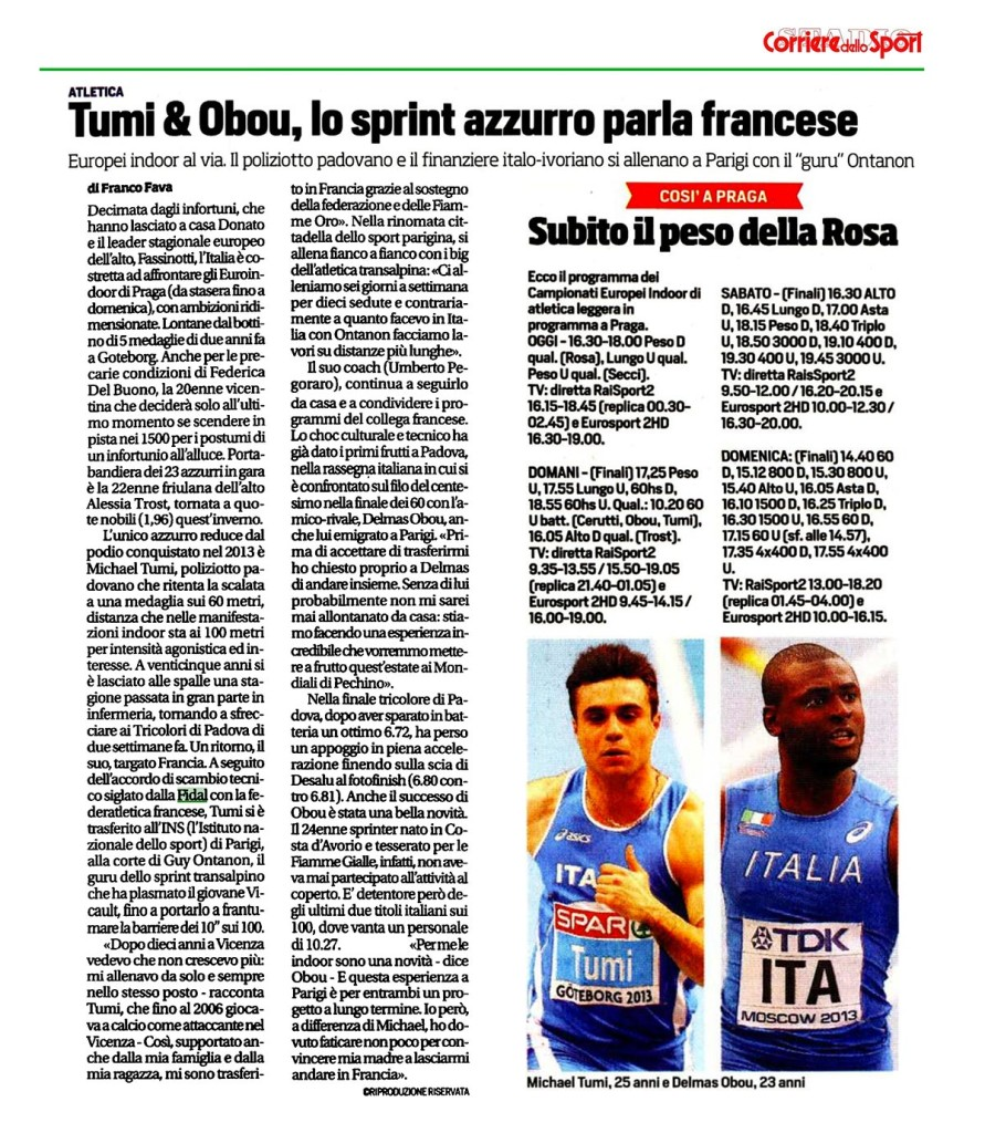 corriere Sport 05 03 15 - Fiamme Oro Atletica