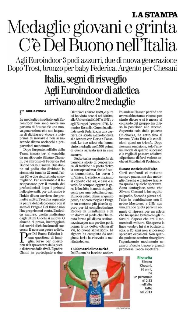 La Stampa 09 03 2015 - Fiamme Oro Atletica