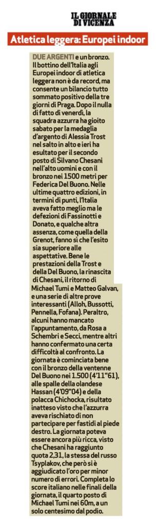 Il Giornale di Vicenza 09 03 2015 - Fiamme Oro Atletica