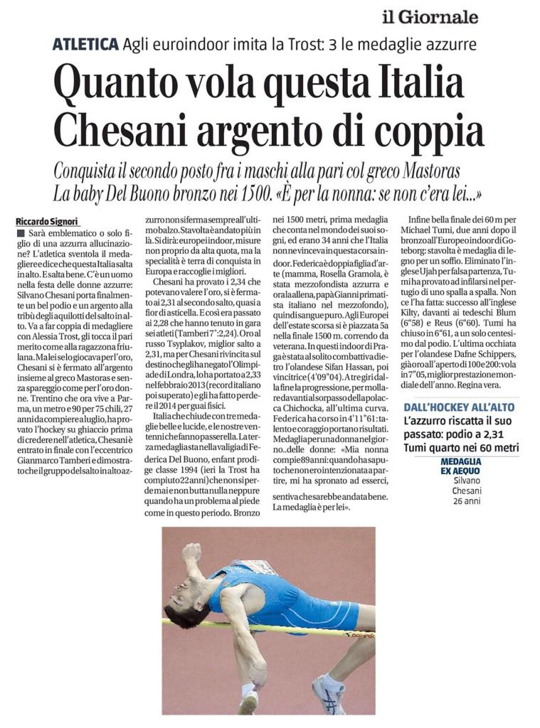 Il Giornale 09 03 2015 - Fiamme Oro Atletica