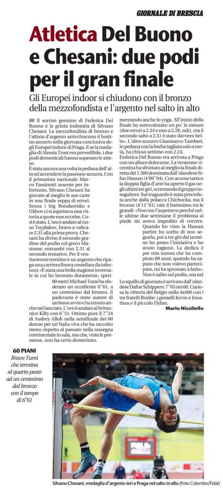 Giornale di Brescia 09 03 2015 - Fiamme Oro Atletica