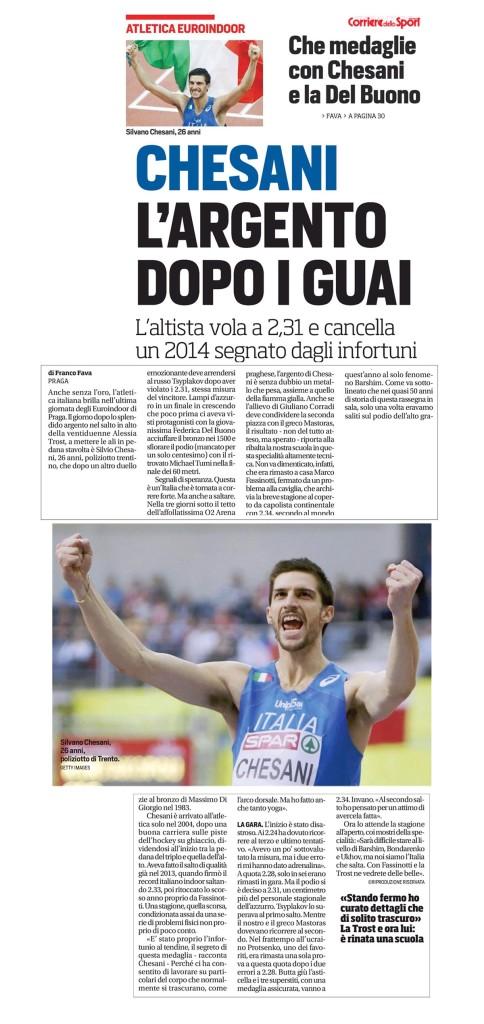 Corriere dello Sport Stadio 09 03 2015 - Fiamme Oro Atletica