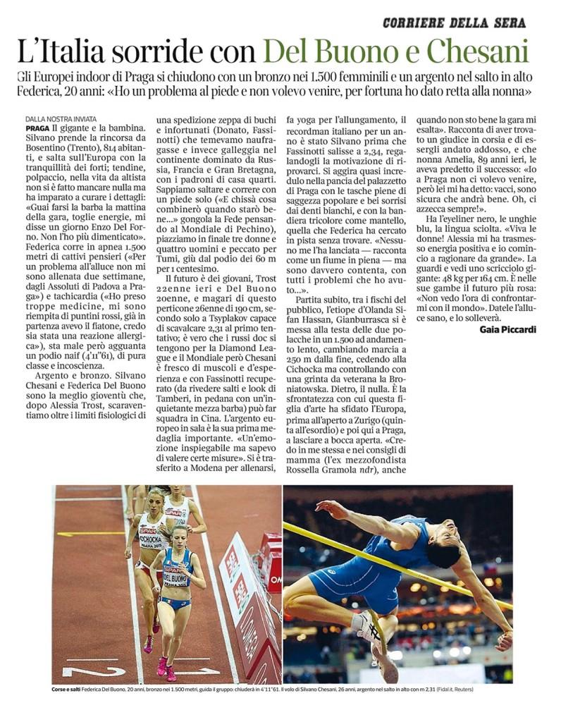 Corriere della Sera 09 03 2015 - Fiamme Oro Atletica