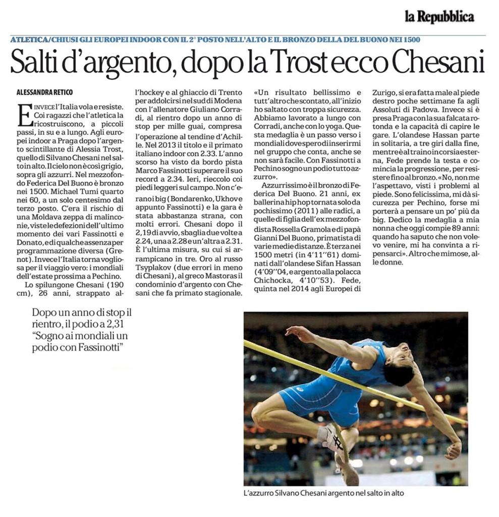 La Repubblica - 09 03 2015 - Fiamme Oro Atletica