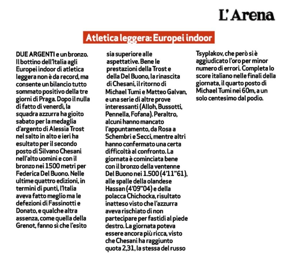 L'arena 09 03 2015 - Fiamme Oro Atletica