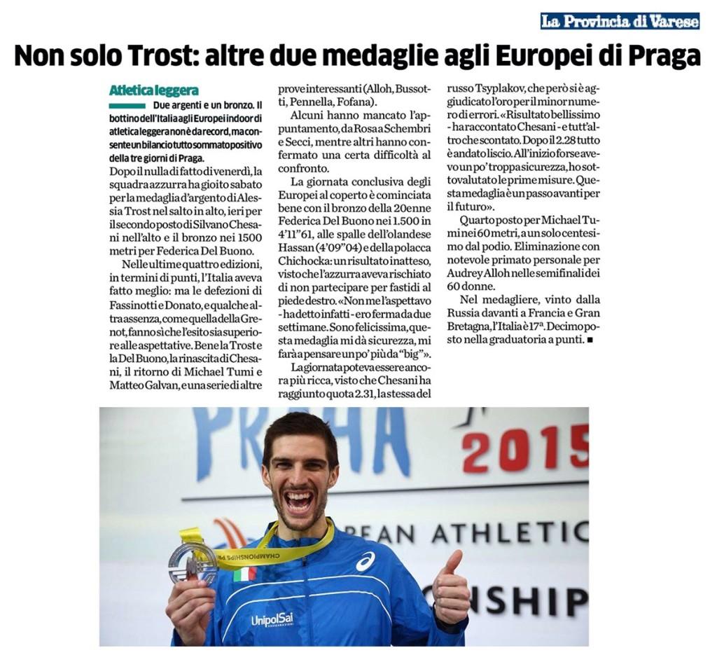 La Provincia di Varese 09 03 2015 - Fiamme Oro Atletica