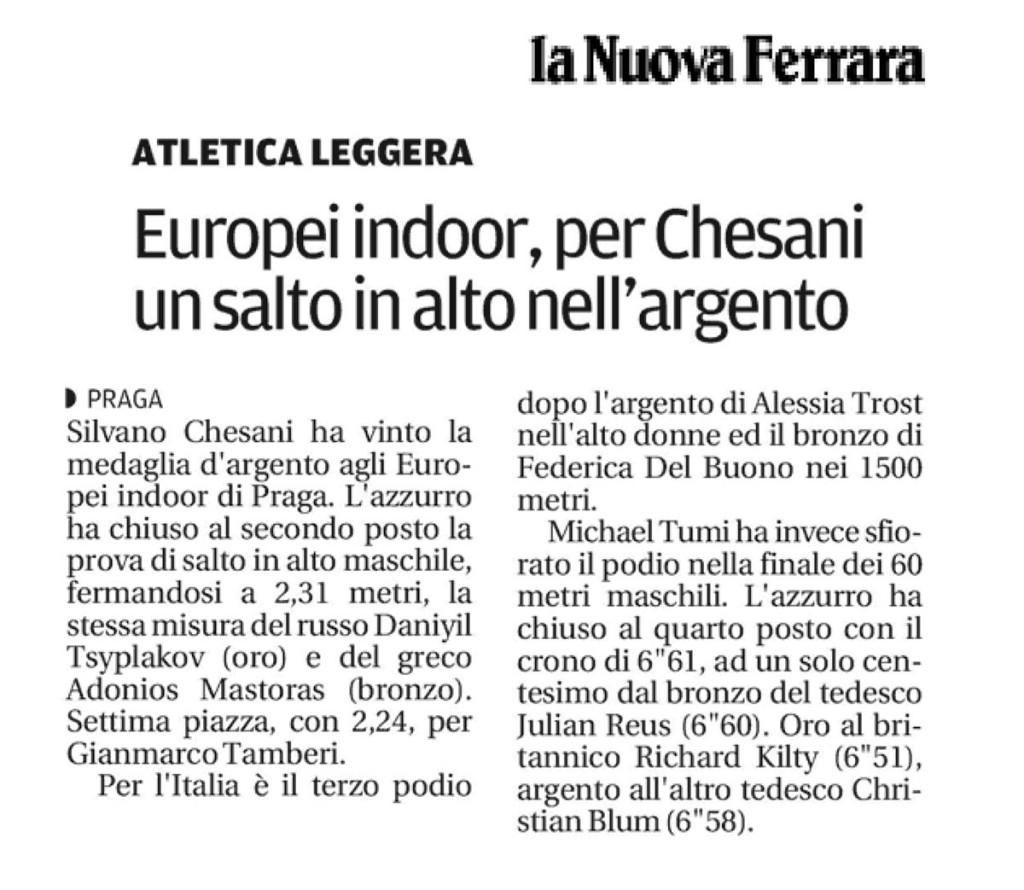 La Nuova Ferrara 09 03 2015 - Fiamme Oro Atletica