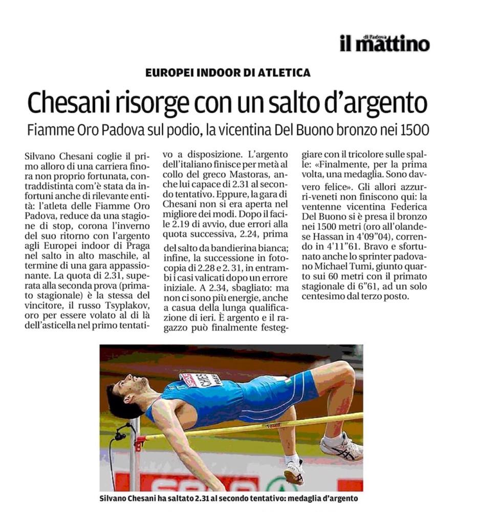 Il Mattino 09 03 2015 - Fiamme Oro Atletica