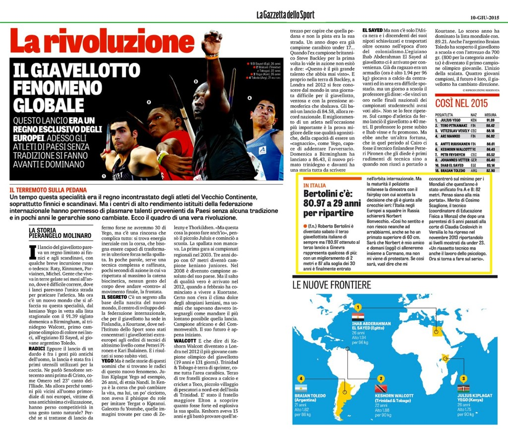 Gazzetta 10 06 2015 - Fiamme Oro Atletica