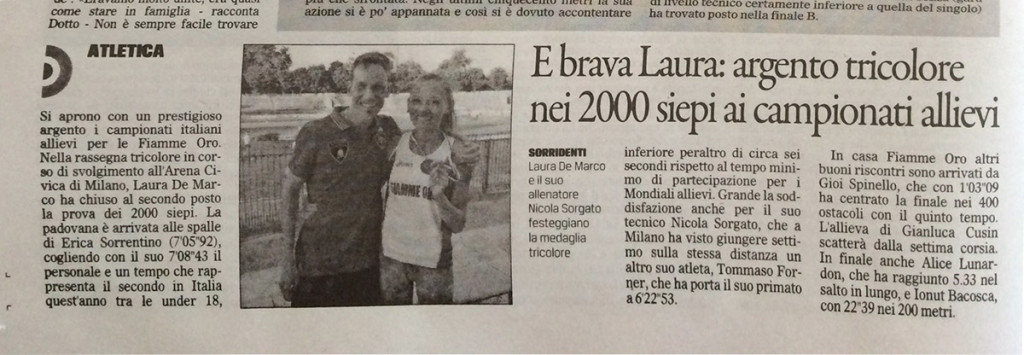 Gazzettino210615 - Fiamme Oro Atletica